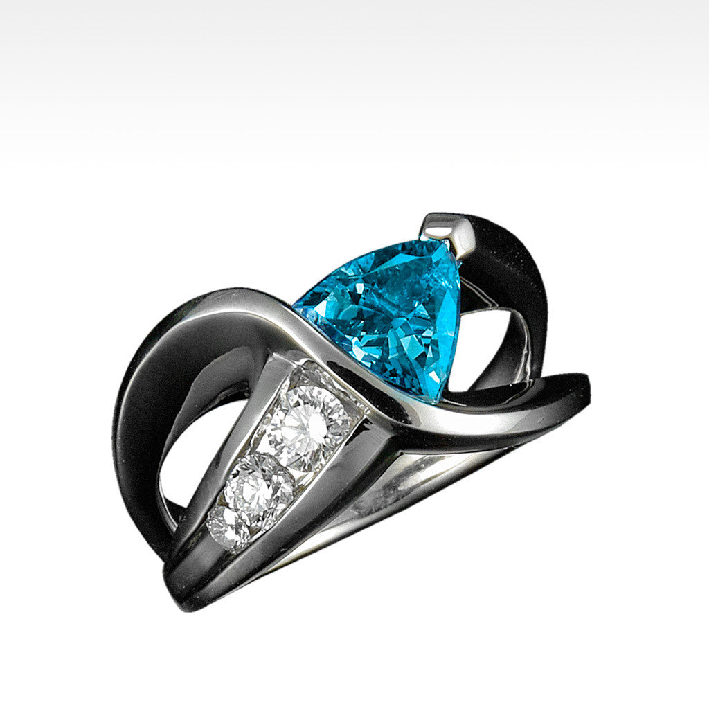 """Fabian"" Blue Topaz Ring with Ideal Cut Diamonds in 18K White Gold - Lyght.com"