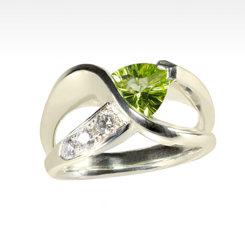 """Fabian"" Peridot and Ideal Cut Diamond Ring in 14k Green Gold - Lyght.com"