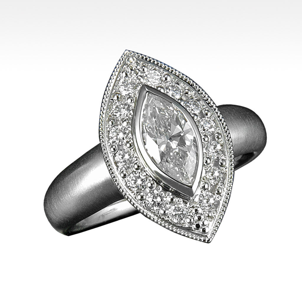 """Fate"" Marquis Diamond Ring Surrounded by Ideal Cut Diamonds in 18K White Gold - Lyght Fine Art and Jewelry 10040 W Cheyenne Ave Ste 160 Las Vegas NV 89129"