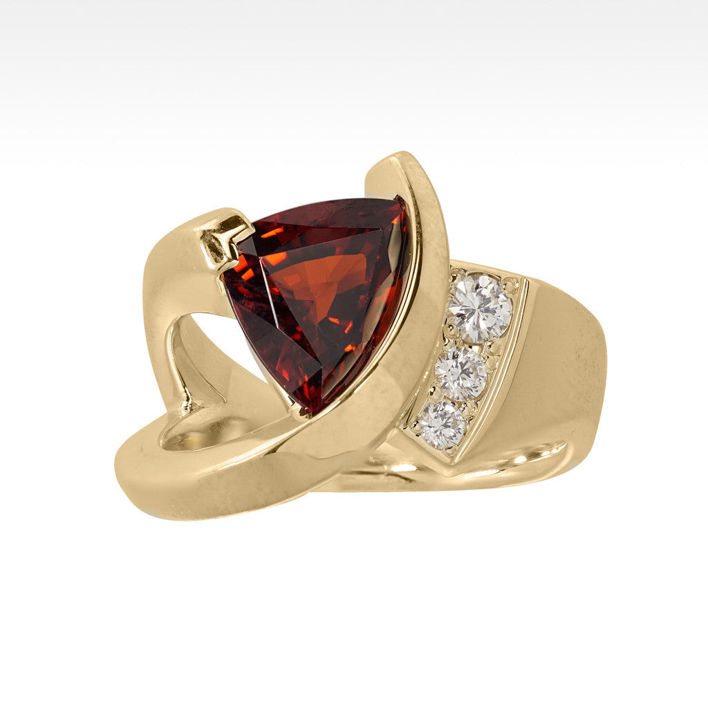 """Flash"" Spessartite Garnet Ring with Ideal Cut Diamonds in 14K Yellow Gold - Lyght Fine Art and Jewelry 10040 W Cheyenne Ave Ste 160 Las Vegas NV 89129"