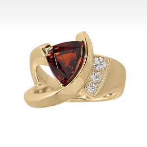 """Flash"" Spessartite Garnet Ring with Ideal Cut Diamonds in 14K Yellow Gold - Lyght Jewelers 10040 W Cheyenne Ave Ste 160 Las Vegas NV 89129"