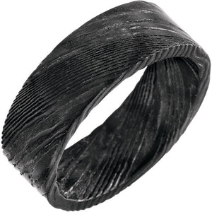 Full Pitch Black Flat Band Damascus Steel 8 mm Wood Grain Band - Lyght Jewelers 10040 W Cheyenne Ave Ste 160 Las Vegas NV 89129