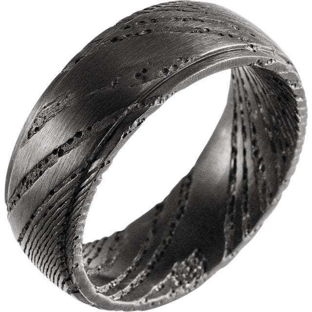 Full Pitch Black Rounded Flat Band Damascus Steel 8 mm Wood Grain Band - Lyght Jewelers 10040 W Cheyenne Ave Ste 160 Las Vegas NV 89129