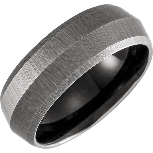 Grey Tungsten Epic Double Knife Edge 8mm Band - Lyght Jewelers 10040 W Cheyenne Ave Ste 160 Las Vegas NV 89129