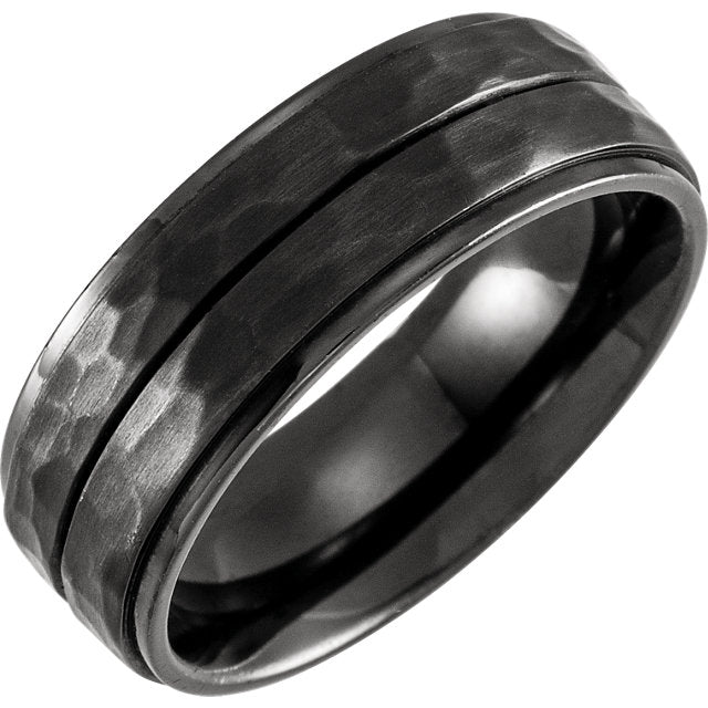 Grooved Flat Edge Black Titanium 8mm Band Hammered Finish - Lyght Jewelers 10040 W Cheyenne Ave Ste 160 Las Vegas NV 89129
