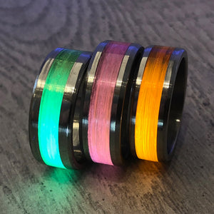 """Gone Fishing"" Pink Monofilament Beveled Edge Glow Ring - Lyght Jewelers 10040 W Cheyenne Ave Ste 160 Las Vegas NV 89129"