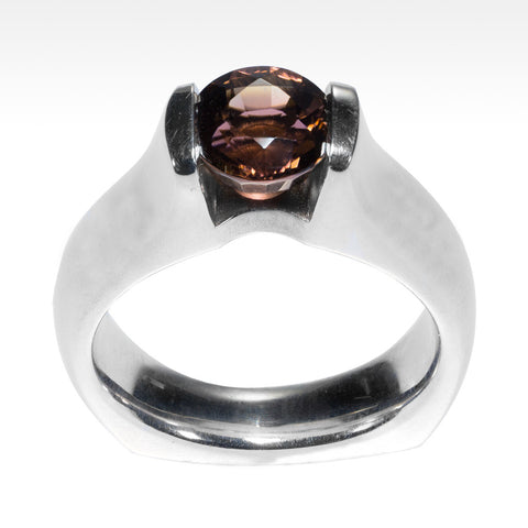 """Helix"" Pink Tourmaline Ring in Argentium Silver"