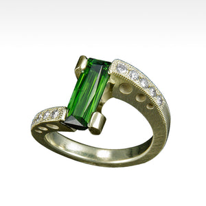"""Incline"" Green Tourmaline with Ideal Cut Diamonds in 14K Green Gold - Lyght Jewelers 10040 W Cheyenne Ave Ste 160 Las Vegas NV 89129"