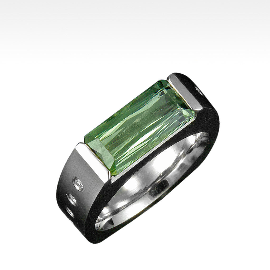 """Ingot"" Green Tourmaline Ring with Ideal Cut Diamonds in 14K White Gold - Lyght.com"