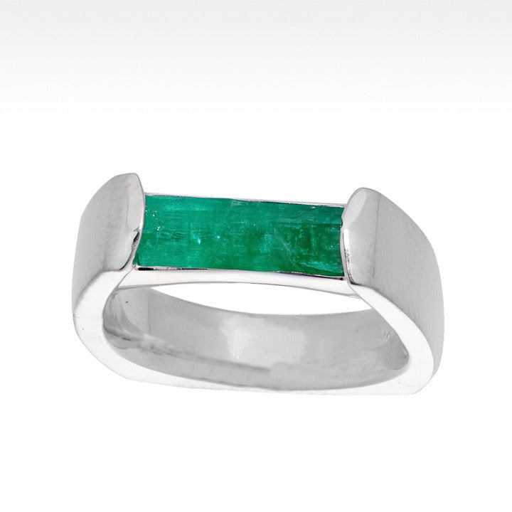"""Ingot"" Natural Colombian Emerald Ring in Argentium Silver - Lyght.com"