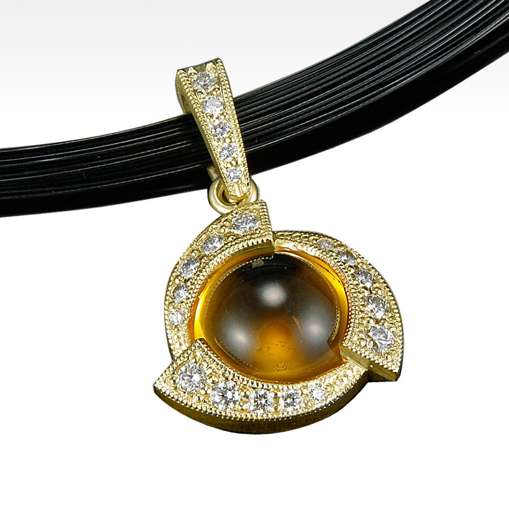 """Innovate"" Citrine Cabochon Pendant with Ideal Cut Diamonds in 18K Yellow Gold with Chain - Lyght Fine Art and Jewelry 10040 W Cheyenne Ave Ste 160 Las Vegas NV 89129"