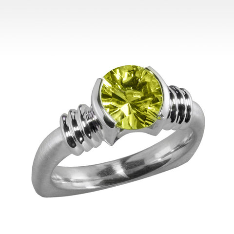 """LBD Evolved"" Bright Lemon Quartz Ring in Argentium Silver"