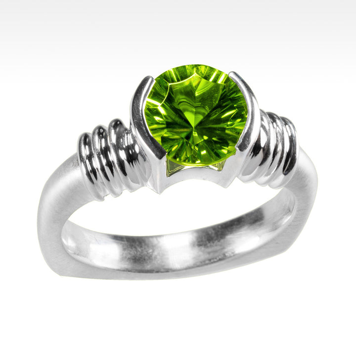 """LBD Evolved"" Burmese Peridot Ring in Argentium Silver - Lyght Jewelers 10040 W Cheyenne Ave Ste 160 Las Vegas NV 89129"
