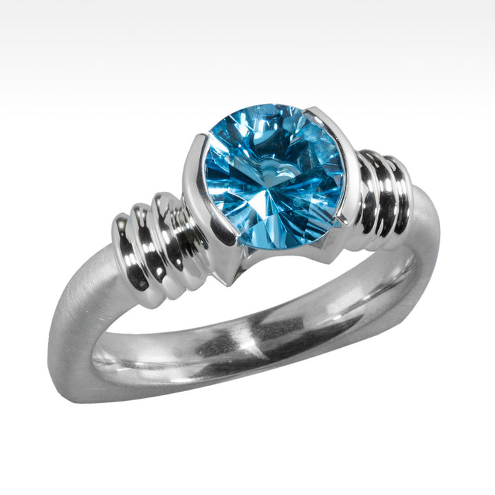 """LBD Evolved"" Electric Blue Topaz Ring in Argentium Silver - Lyght Jewelers 10040 W Cheyenne Ave Ste 160 Las Vegas NV 89129"