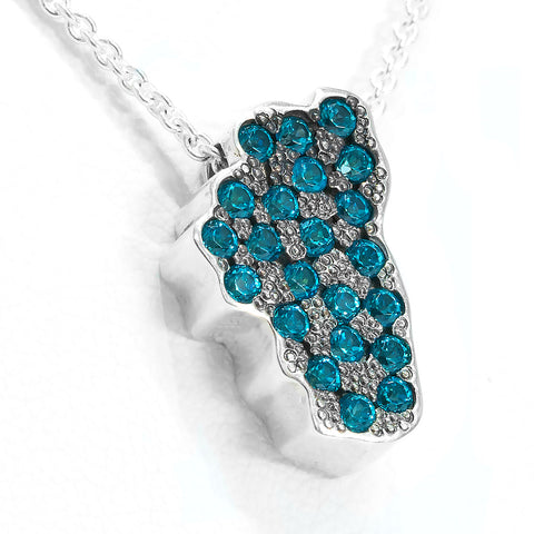 """The Depths of Lake Tahoe"" Pendant with Swarovski Paraiba Blue Topaz in Silver"
