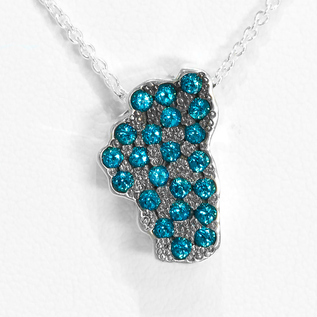 """The Depths of Lake Tahoe"" Pendant with Swarovski Paraiba Blue Topaz in Silver - Lyght Jewelers 10040 W Cheyenne Ave Ste 160 Las Vegas NV 89129"