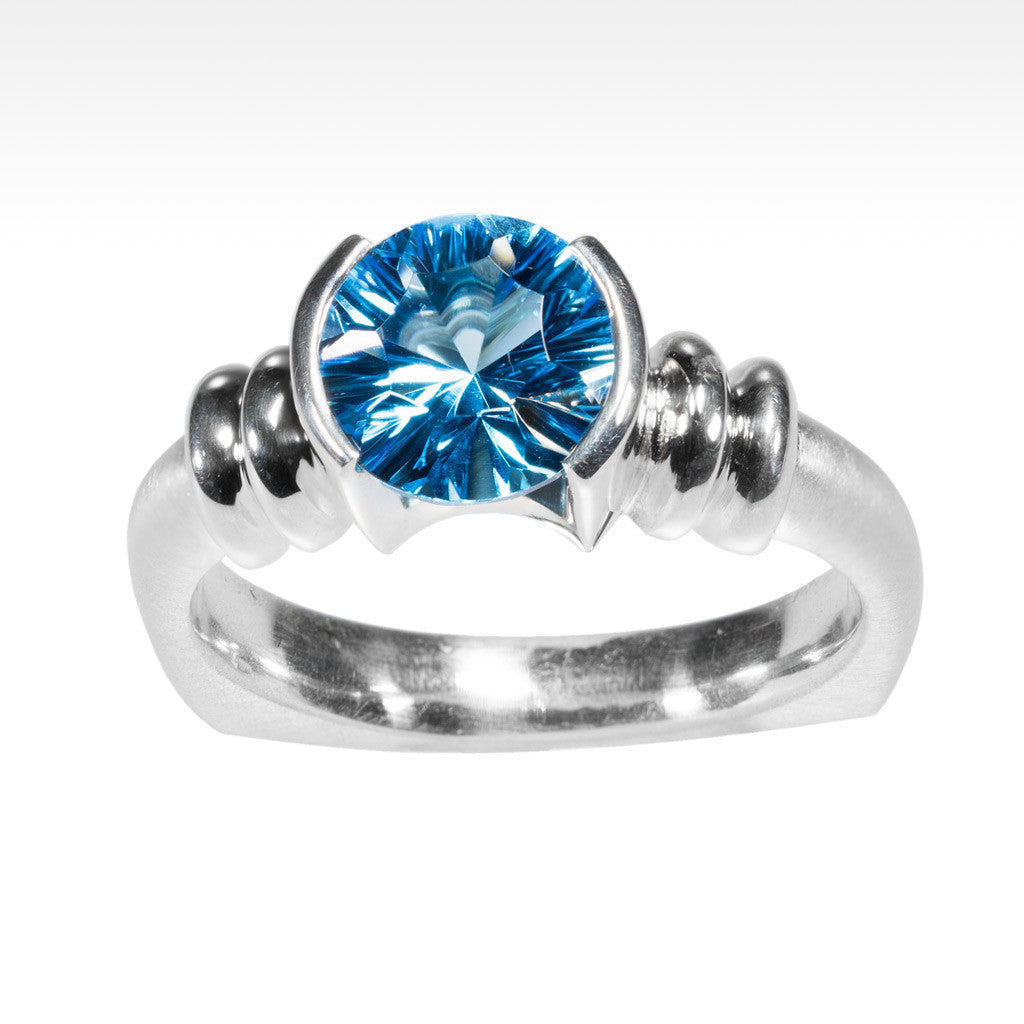 """Little Black Dress"" Electric Blue Topaz Ring in Argentium Silver - Lyght Jewelers 10040 W Cheyenne Ave Ste 160 Las Vegas NV 89129"