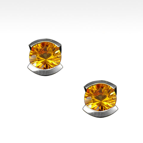 """Little Black Dress"" Semi-Bezel Citrine Earrings in Argentium Silver"