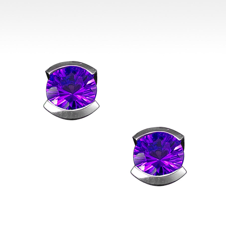 """Little Black Dress"" Semi-Bezel Set Amethyst Earrings in Argentium Silver - Lyght Jewelers 10040 W Cheyenne Ave Ste 160 Las Vegas NV 89129"