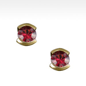 """Little Black Dress"" Semi-Bezel Set Garnet Earrings in 14K Yellow Gold - Lyght Jewelers 10040 W Cheyenne Ave Ste 160 Las Vegas NV 89129"
