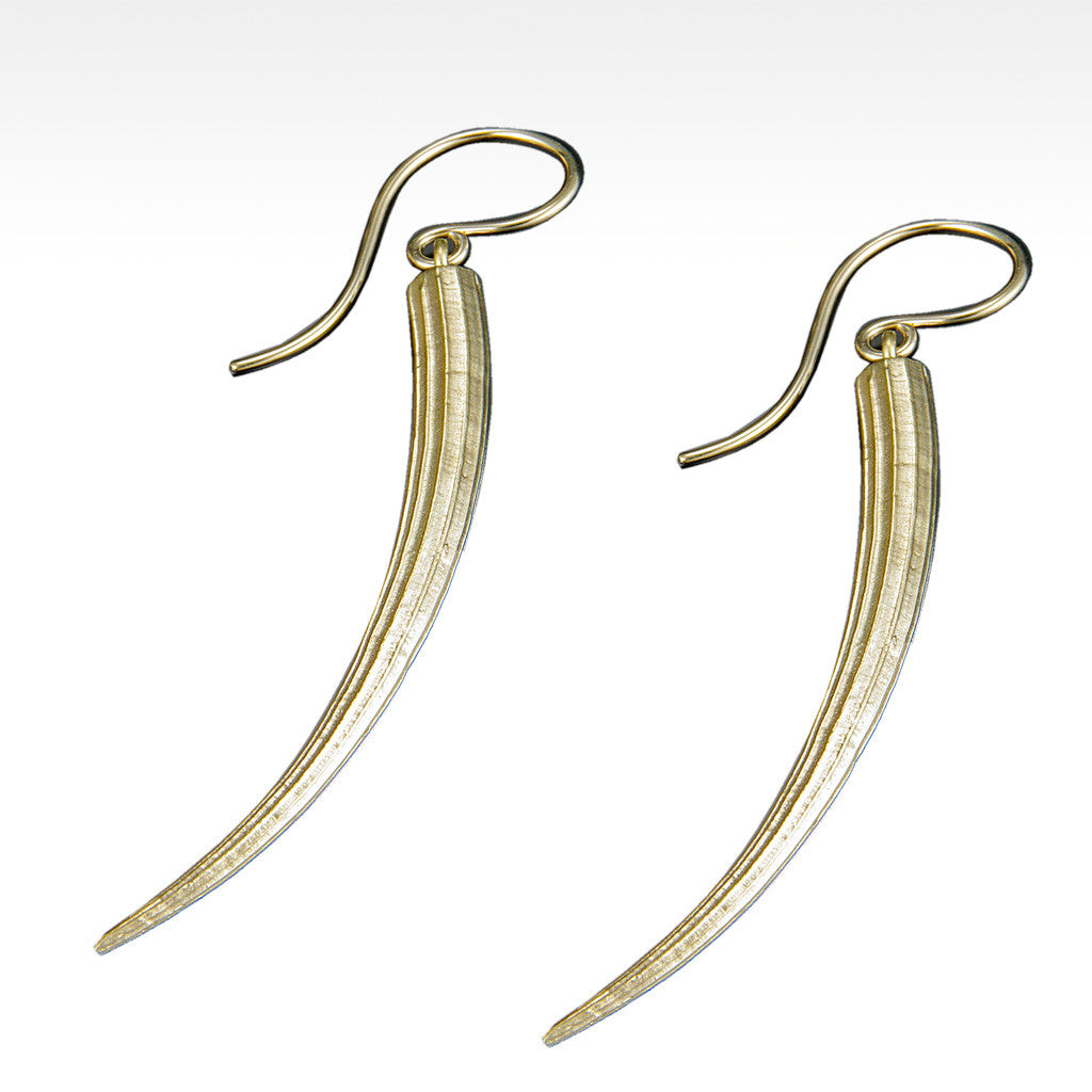 """Long Tusk"" Earrings in 14K Yellow Gold - Lyght Fine Art and Jewelry 10040 W Cheyenne Ave Ste 160 Las Vegas NV 89129"