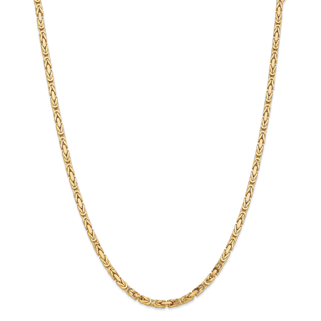 14k Yellow Gold 3.25mm Byzantine Chain Necklace