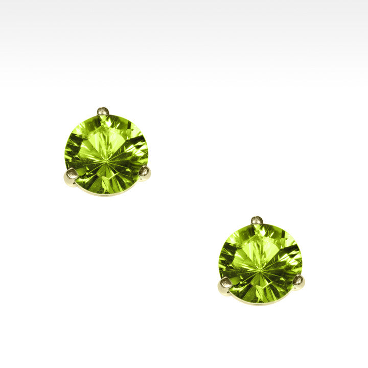 """Martini Time"" Apple Green Peridot Earrings in 18K Yellow Gold - Lyght.com"