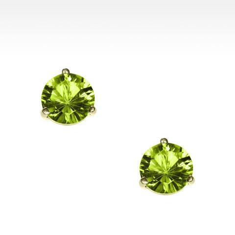 """Martini Time"" Apple Green Peridot Earrings in 18K Yellow Gold"