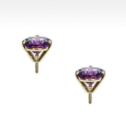 """Martini Time"" Arizona Amethyst Earrings in 18K Yellow Gold - Lyght Fine Art and Jewelry 10040 W Cheyenne Ave Ste 160 Las Vegas NV 89129"