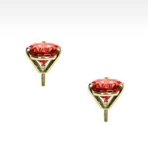 """Martini Time"" Bright Red Garnet Earrings in 18K Yellow Gold - Lyght Jewelers 10040 W Cheyenne Ave Ste 160 Las Vegas NV 89129"