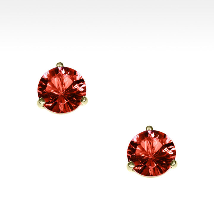 """Martini Time"" Bright Red Garnet Earrings in 18K Yellow Gold - Lyght Fine Art and Jewelry 10040 W Cheyenne Ave Ste 160 Las Vegas NV 89129"