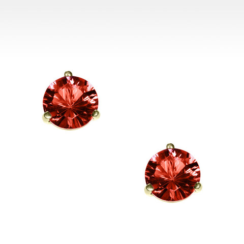 """Martini Time"" Bright Red Garnet Earrings in 18K Yellow Gold"