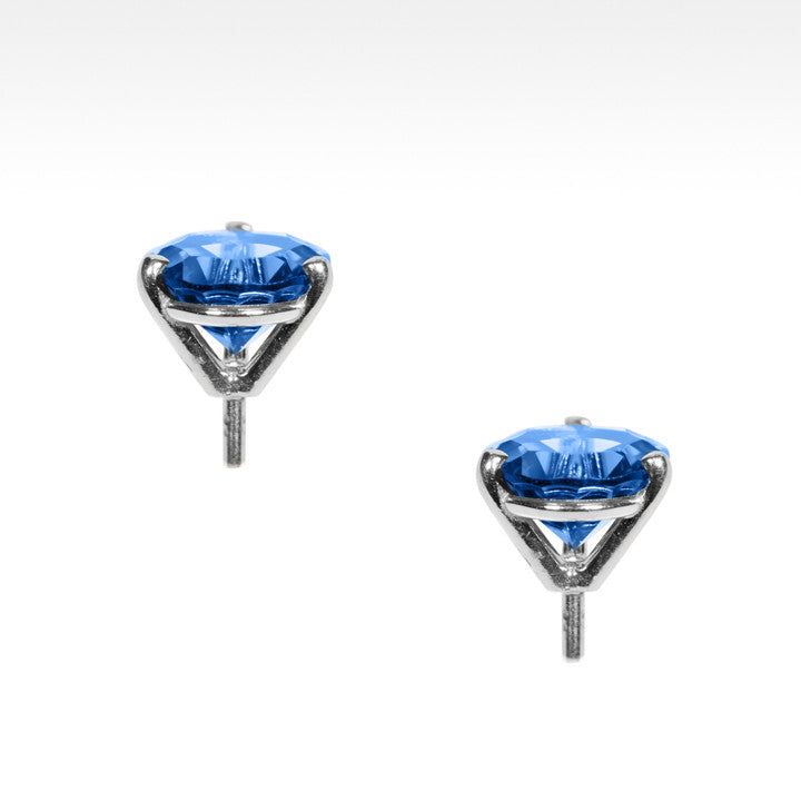"""Martini Time"" London Blue Topaz Earrings in 18K White Gold - Lyght.com"