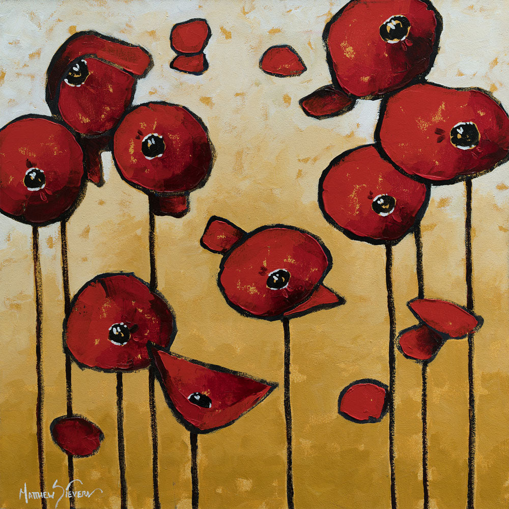 """Red Poppy Music"" Oil on Canvas by Matt Sievers - Lyght Fine Art and Jewelry 10040 W Cheyenne Ave Ste 160 Las Vegas NV 89129"