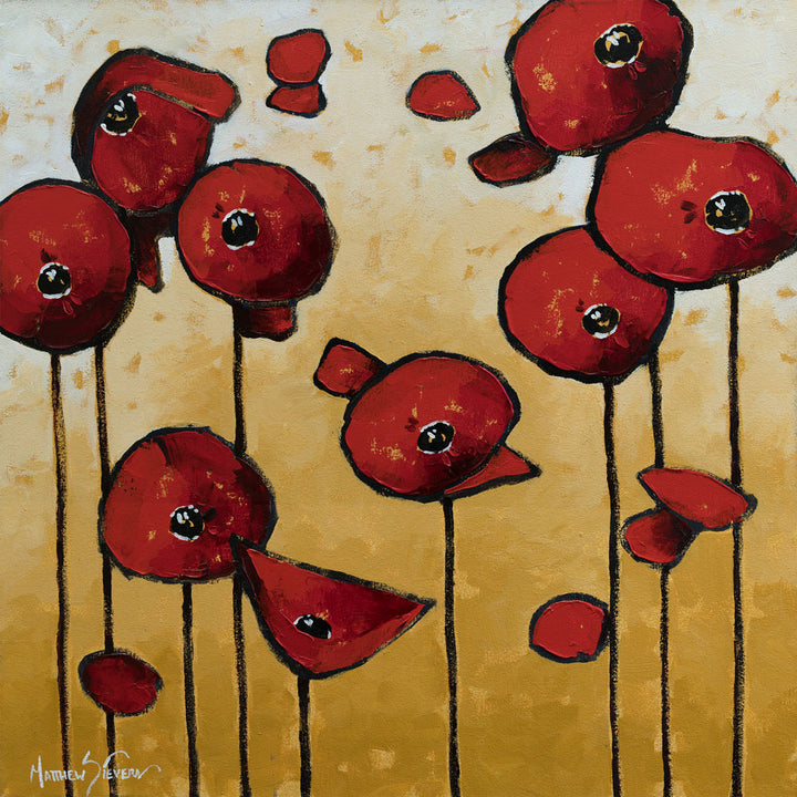 """Red Poppy Music"" Oil on Canvas by Matt Sievers - Lyght Jewelers 10040 W Cheyenne Ave Ste 160 Las Vegas NV 89129"