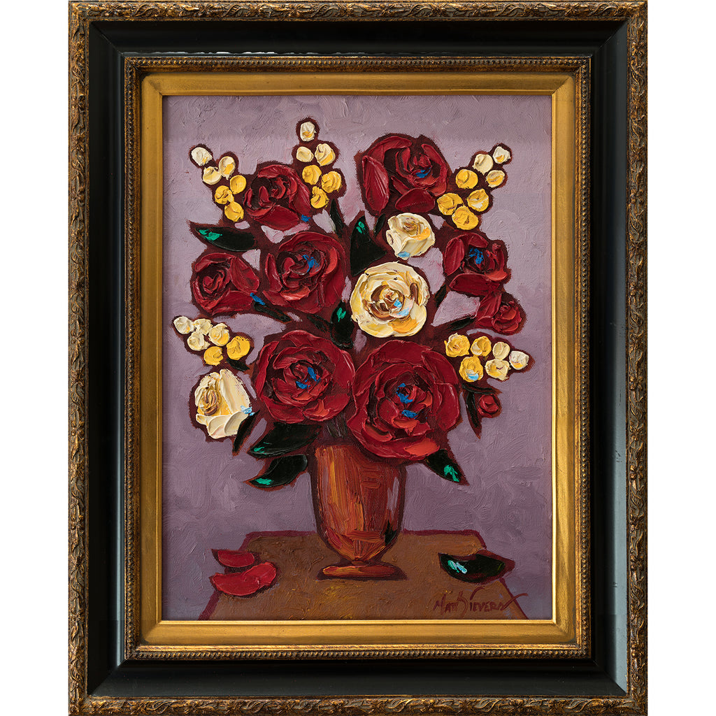 """Rose Pattern"" Oil on Canvas Framed by Matt Sievers - Lyght Jewelers 10040 W Cheyenne Ave Ste 160 Las Vegas NV 89129"