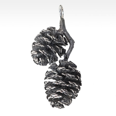 """Mini Cones"" Mini Pine Cone Pendant in Argentium Silver - Lyght Fine Art and Jewelry 10040 W Cheyenne Ave Ste 160 Las Vegas NV 89129"