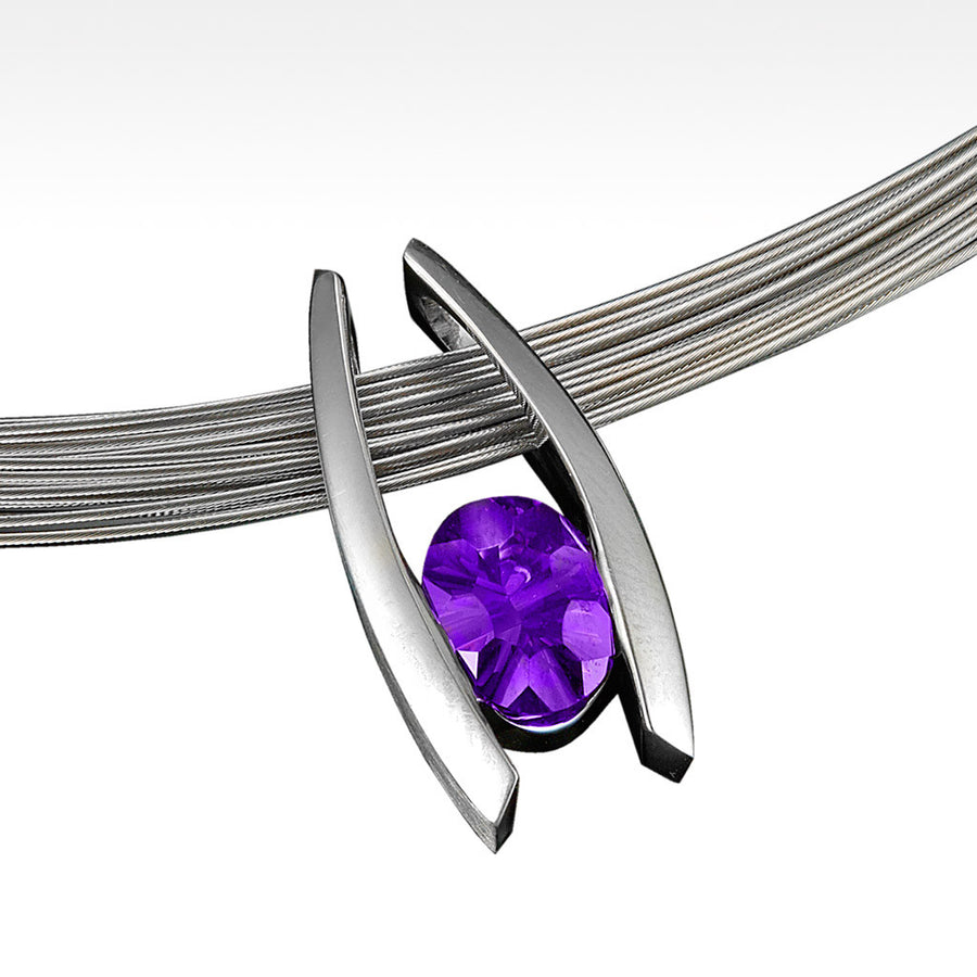 """Embrace"" Amethyst Pendant in Silver - Lyght Jewelers 10040 W Cheyenne Ave Ste 160 Las Vegas NV 89129"