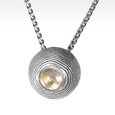 """Nichon"" Rutilated Quartz Pendant in Argentium Silver with Chain"