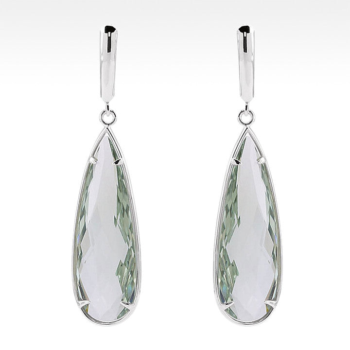 """One Drop""  Cushion Cut Green Quartz Pear Shape Earrings in Sterling Silver - Lyght Jewelers 10040 W Cheyenne Ave Ste 160 Las Vegas NV 89129"