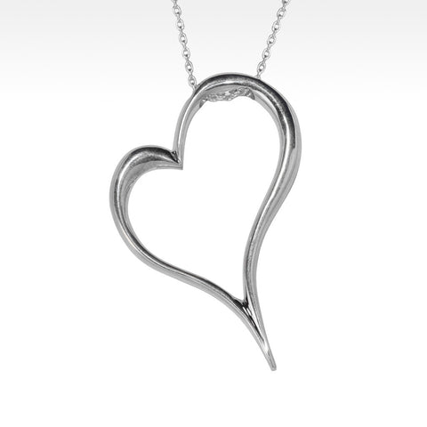 """Open Your Heart"" Pendant in Argentium Silver with Chain"