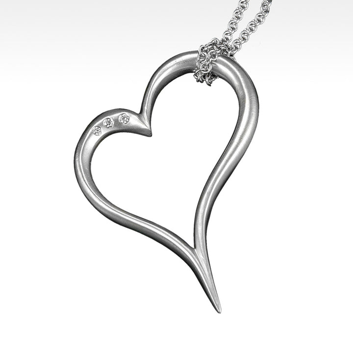 """Open Your Heart"" Pendant with Diamonds in 14K White Gold with Chain - Lyght Jewelers 10040 W Cheyenne Ave Ste 160 Las Vegas NV 89129"