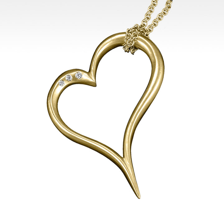 """Open Your Heart"" Pendant with Diamonds in 14K Yellow Gold with Chain - Lyght Jewelers 10040 W Cheyenne Ave Ste 160 Las Vegas NV 89129"