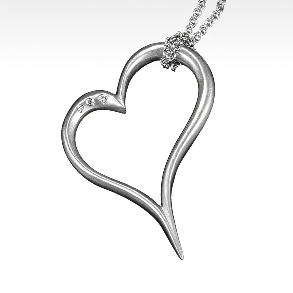 """Open Your Heart"" Pendant with Ideal Cut Diamonds in Argentium Silver with Chain - Lyght.com"
