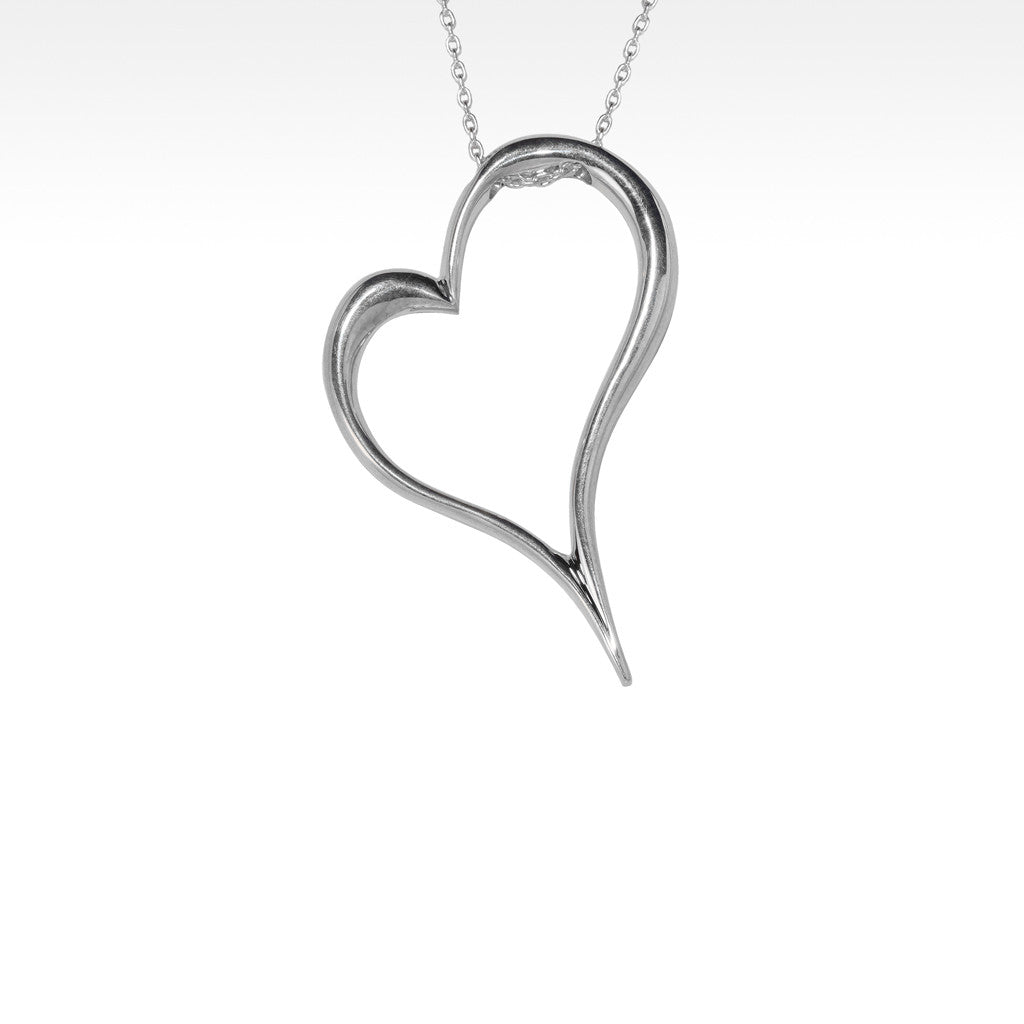 """Open Your Heart"" Petite Pendant in Argentium Silver with Chain - Lyght.com"