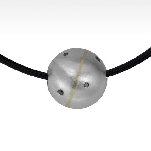 """Orb"" Black Diamond Pendant in Fine Silver and 18K Yellow Gold Stripe with Stainless Steal Chain"