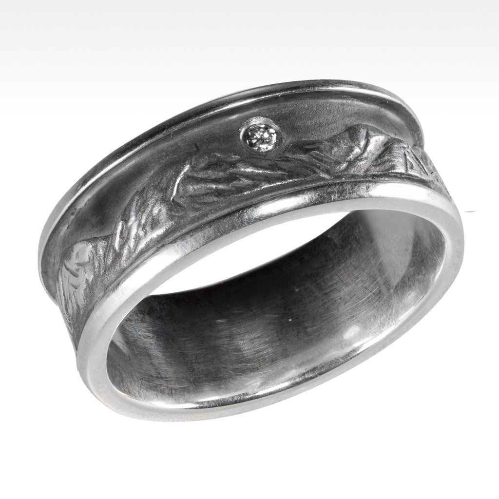 """Peaks"" Mountain Ring in Argentium Silver with Ideal Cut Diamond - Lyght.com"