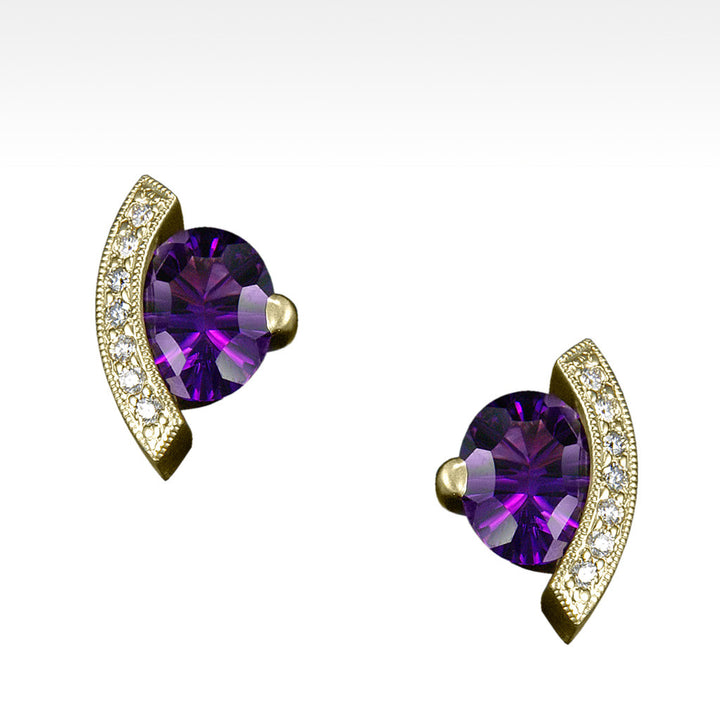 """Poise"" Amethyst Earrings with Ideal Cut Diamonds in 14K Yellow Gold - Lyght Jewelers 10040 W Cheyenne Ave Ste 160 Las Vegas NV 89129"
