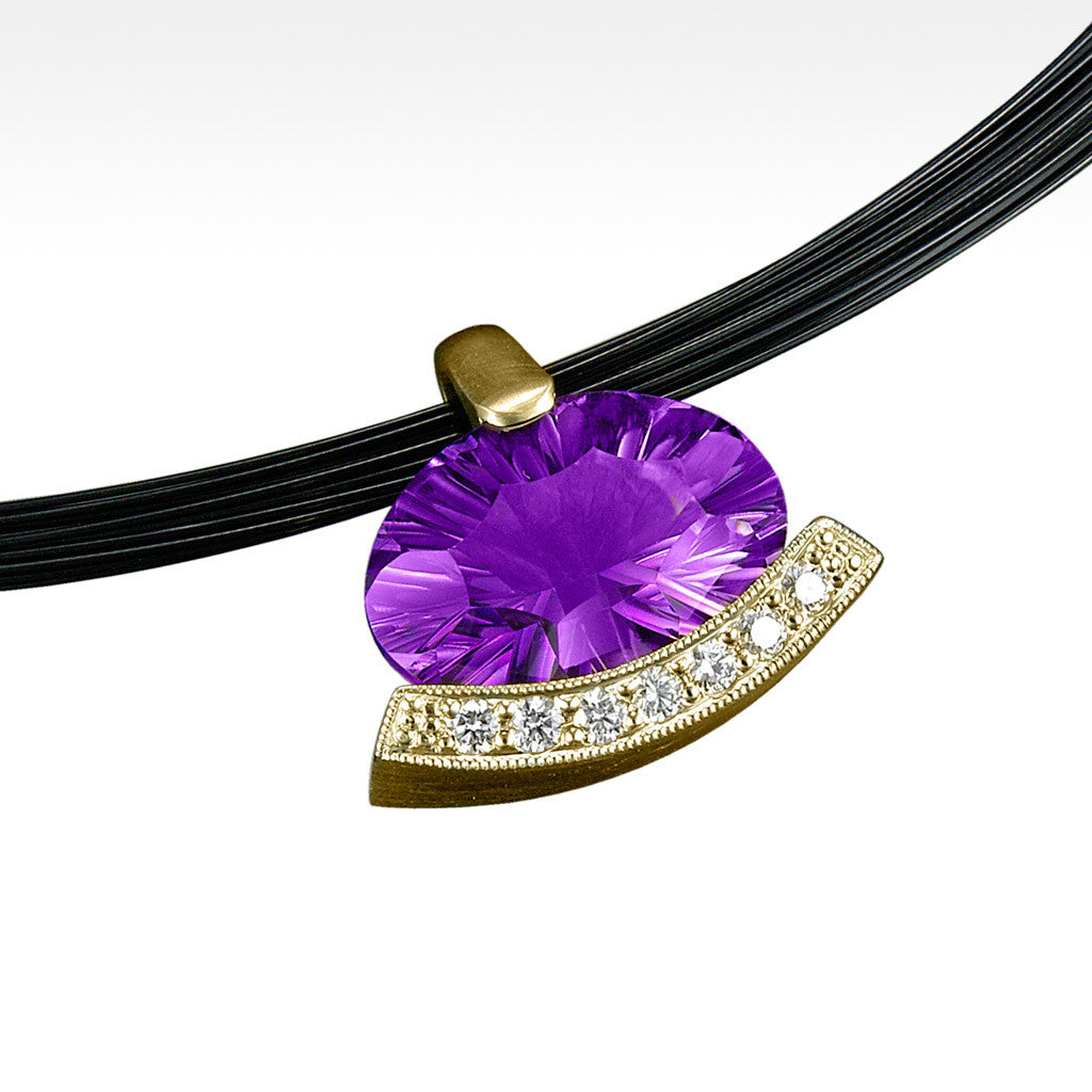 """Poise"" Amethyst Pendant with Ideal Cut Diamonds in 14K Yellow Gold and Chain - Lyght.com"