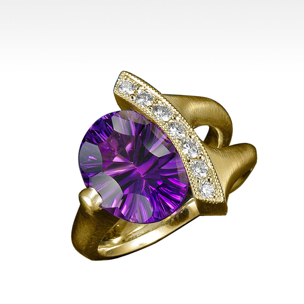"""Poise"" Amethyst Ring with Ideal Cut Diamonds in 14K Yellow Gold - Lyght Fine Art and Jewelry 10040 W Cheyenne Ave Ste 160 Las Vegas NV 89129"